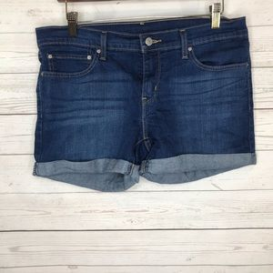 Levis Womens Jean Shorts Stretch Cuffed Dark 34
